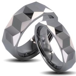 Tungsten Carbide Faceted Prism Design His and Her Wedding Band Set