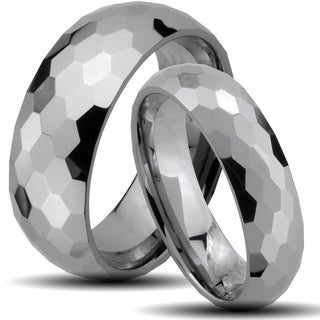 Tungsten Carbide Honeycomb Faceted Design His and Her Wedding Band Set