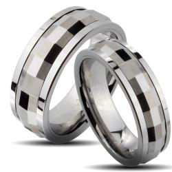 Tungsten Carbide Faceted Rectangle Spinner His and Her Wedding Band Set