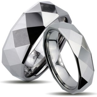 Tungsten Carbide Multi-faceted Polished His and Her Wedding Band Set