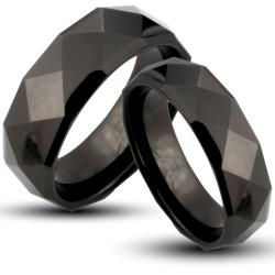 Black-plated Tungsten Carbide Faceted His and Her Wedding Band Set