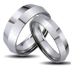 Tungsten Carbide Center Ridge His and Her Wedding Band Set