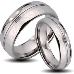 Tungsten Carbide Rounded Edge and Center Groove His and Her Wedding Band Set