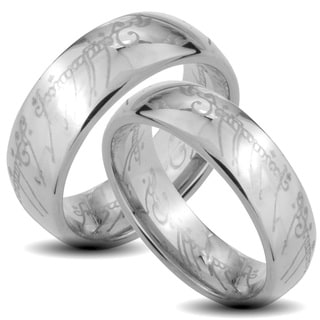 West Coast Jewelry Tungsten Carbide 'The One' Laser-etched Elvish Script His and Her Wedding Band Set