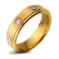Goldplated Tungsten Carbide Triple Cubic Zirconia Ring