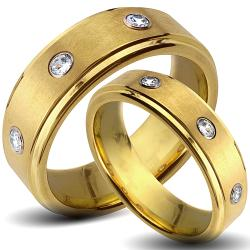Goldplated Tungsten Carbide Cubic Zirconia His and Her Wedding Band Set