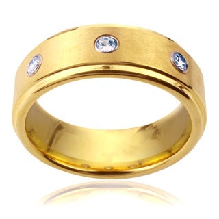 Goldplated Tungsten Carbide Men's Cubic Zirconia Ring