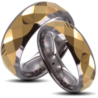 Tungsten Carbide Two-tone Goldplated Faceted His and Her Wedding Band Set