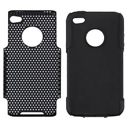 Black Skin/ Black Mesh Hybrid Case for Apple iPhone 4/ 4S
