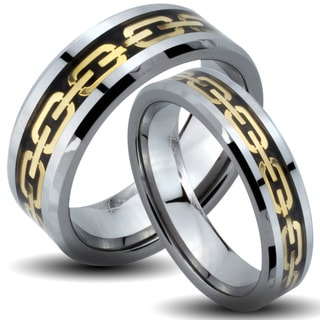 Tungsten Carbide Tri-color Goldplated Chain Link His and Her Wedding Band Set
