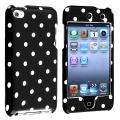 Black with White Polka Dot Snap-on Case for Apple iPod touch 4th Gen