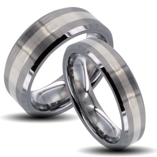 Tungsten Carbide Striped Inlay Beveled Edge His and Her Wedding Band Set