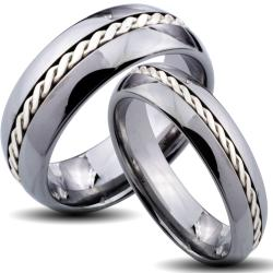 Tungsten Carbide Silver Rope Inlay His and Her Wedding Band Set