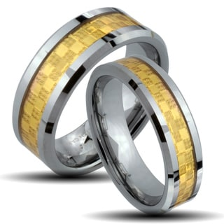 Tungsten Carbide Two-tone Goldplated Checkered His and Her Wedding Band Set