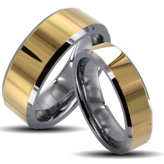 Tungsten Carbide Two-tone Goldplated Center Plate His and Her Wedding Band Set
