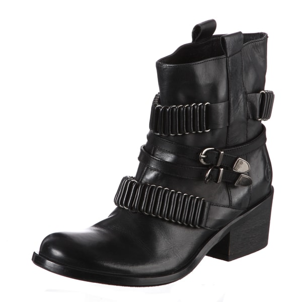 Bronx Women's Black Buckle Embellished Boots
