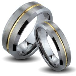 Tungsten Carbide Two-tone Goldplated Center Groove His and Her Wedding Band Set