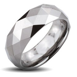 Tungsten Carbide Men's Faceted Dome Wide Ring