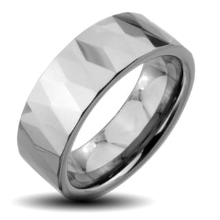 Tungsten Carbide Men's Faceted Flat Wide Ring