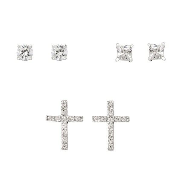Icz Stonez Sterling Silver Cubic Zirconia Stud Earring Set (2 2/5ct TGW)