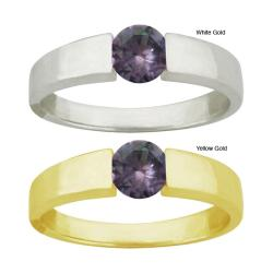 10k Gold Round-cut Alexandrite Contemporary Ring
