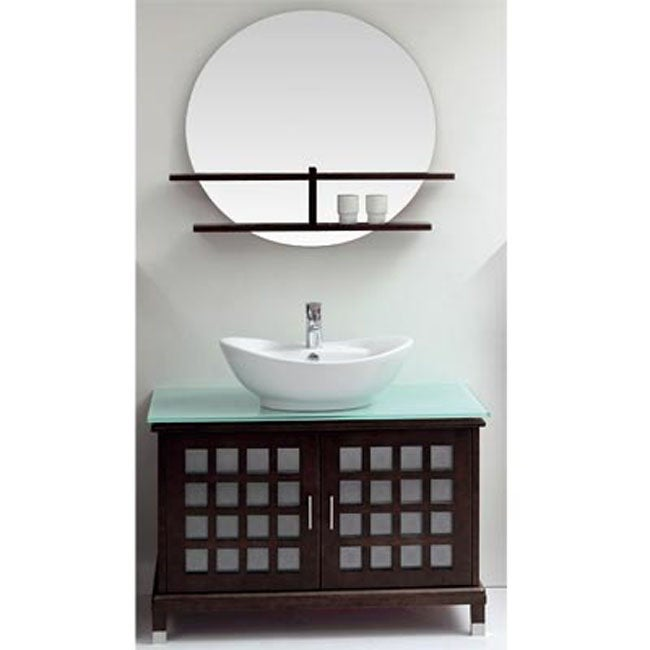 jacob wood frosted glass top bathroom vanity by ove decors