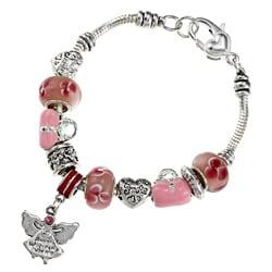 La Preciosa Silverplated 7.5-inch Pink Bead Charm Bracelet