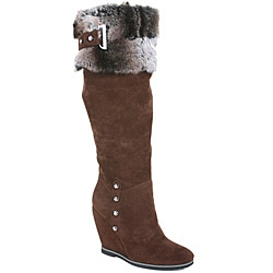 Nancy li Women's Faux Fur Brown Knee-High Boots