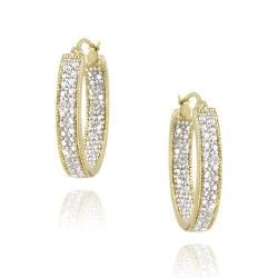 DB Designs 18k Gold over Sterling Silver Diamond Accent Hoop Earrings