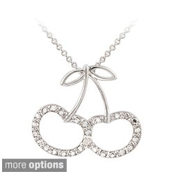DB Designs Sterling Silver Diamond Accent Cherry Necklace