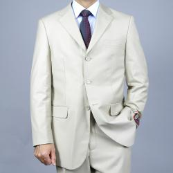 Men's Solid Bone 3-Button Suit