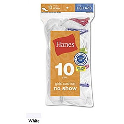 Hanes Girls' Cushion No Show Socks (Pack of 10)