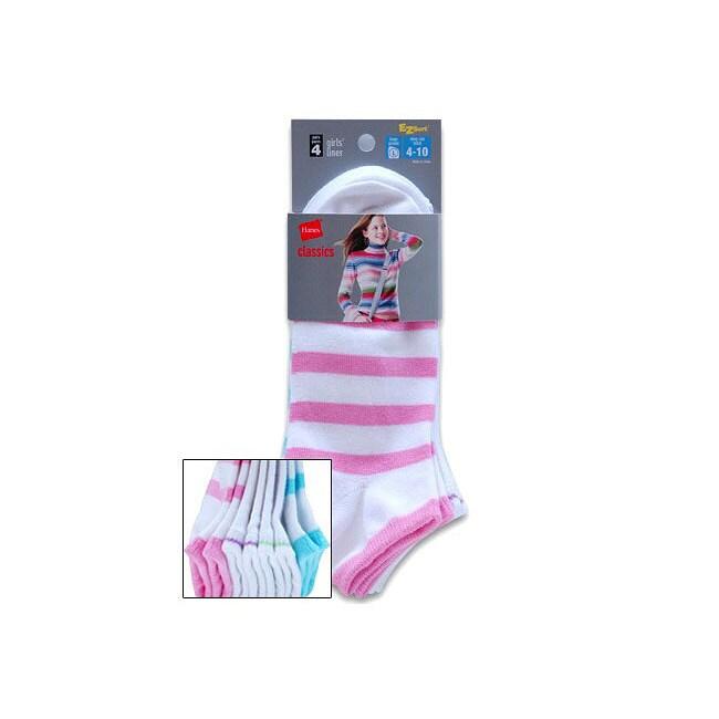 Hanes Girls' Low-Cut Liner Socks (Pack of 4)