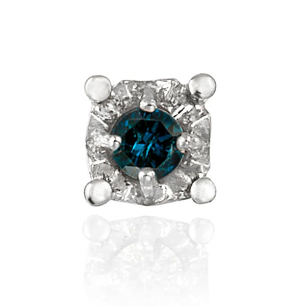 DB Designs Sterling Silver Blue Diamond Single Stud Earring 8737367