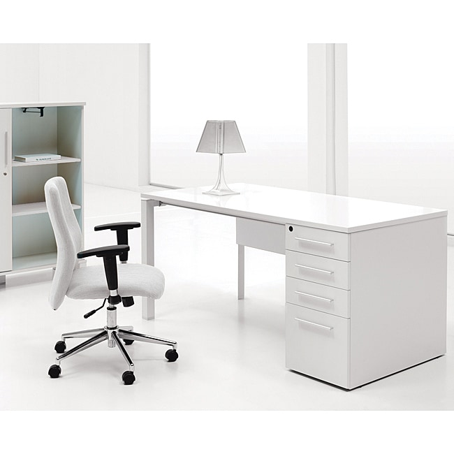 Jesper Office White Lacquer Study Desk With Drawers