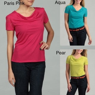 Requirements Women's Cowl Neck Cut-out Short Sleeve Top