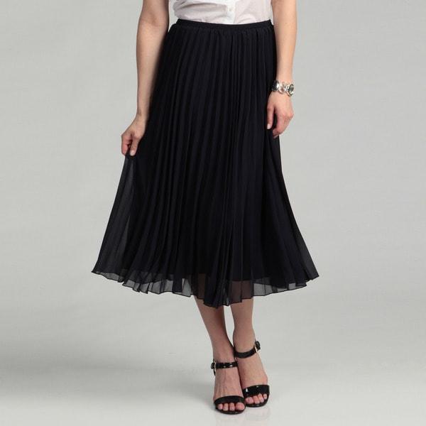 R.Q.T Women's Neo Navy Solid Pleat Skirt