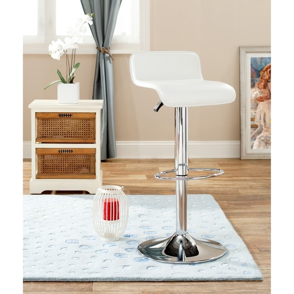 Safavieh Soho Adjustable-Height Gas Lift White Swivel Bar Stool