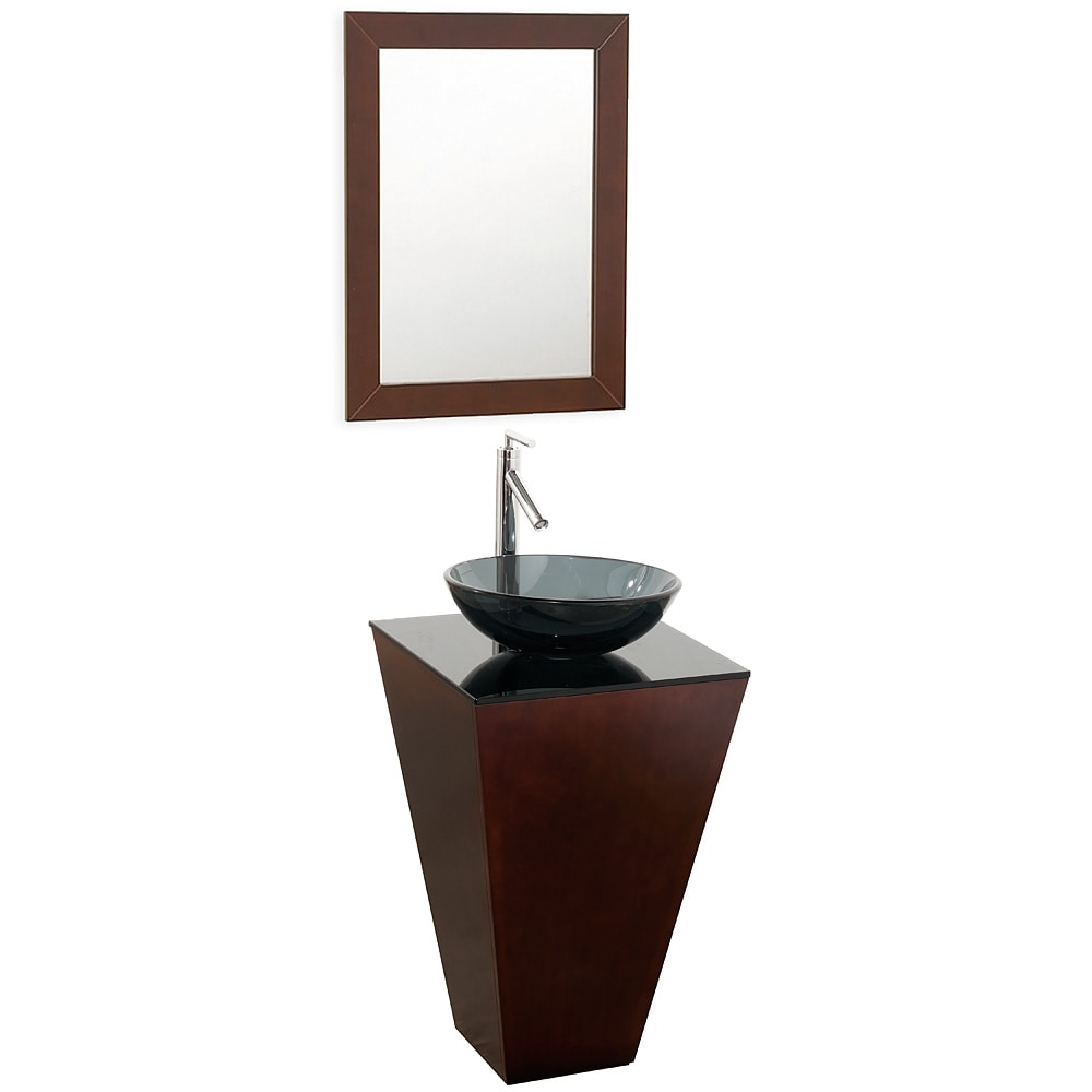 Collection Esprit Espresso Smoke Glass Sink Single Bathroom Vanity Set