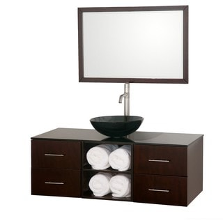 Wyndham Collection Abba Espresso Single 48-inch Bathroom Vanity Set