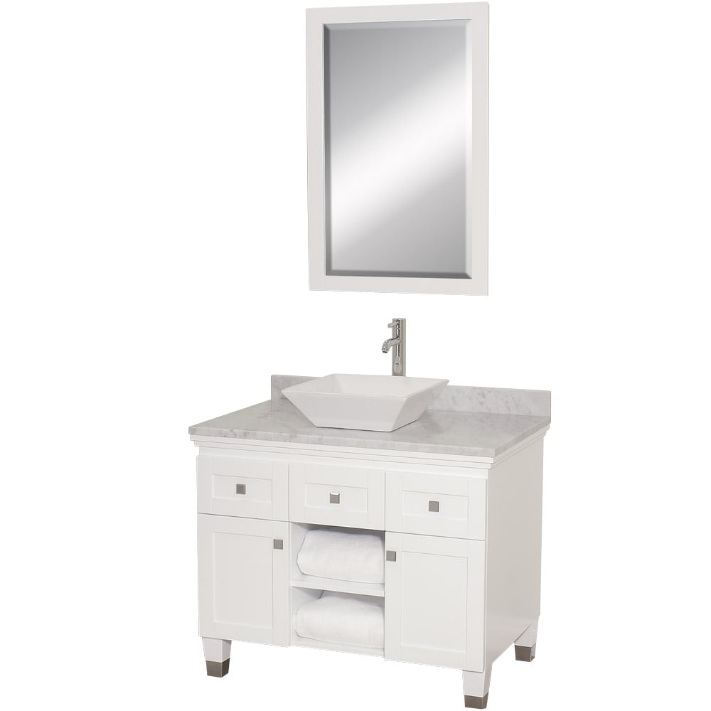 Wyndham Collection Premiere' White 36-inch Solid Oak Single Bathroom Vanity