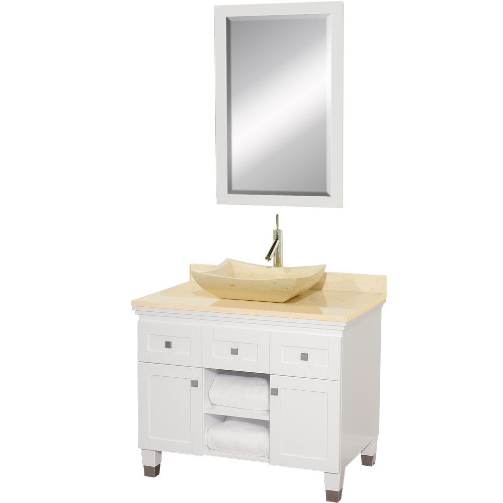 Furniture Providence Cottage White Wood 36 Inch Single Vanity Cabinet