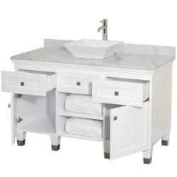 Wyndham Collection Premiere' White 48-inch Solid Oak Single Bathroom Vanity