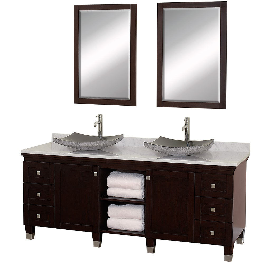 Wyndham Collection Premiere' Espresso 72-inch Solid Oak Double Bathroom Vanity