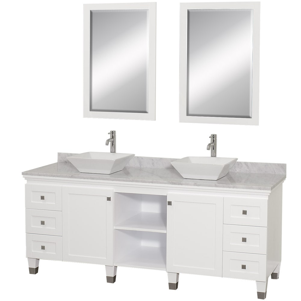 andover 72 inch white double sink bathroom vanity and mirror set