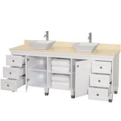 Bathroom Vanity on Collection Premiere  White 72 Inch Solid Oak Double Bathroom Vanity