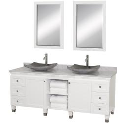 Wyndham Collection Premiere' White 72-inch Solid Oak Double Bathroom Vanity