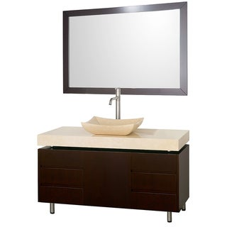 Wyndham Collection Malibu Ivory Marble 48-inch Single Bathroom Vanity Set