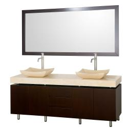 Wyndham Collection Malibu Espresso 72-inch Double Bathroom Vanity Set