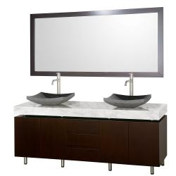 Wyndham Collection Malibu Espresso Black Granite Sink Double Bathroom Vanity Set